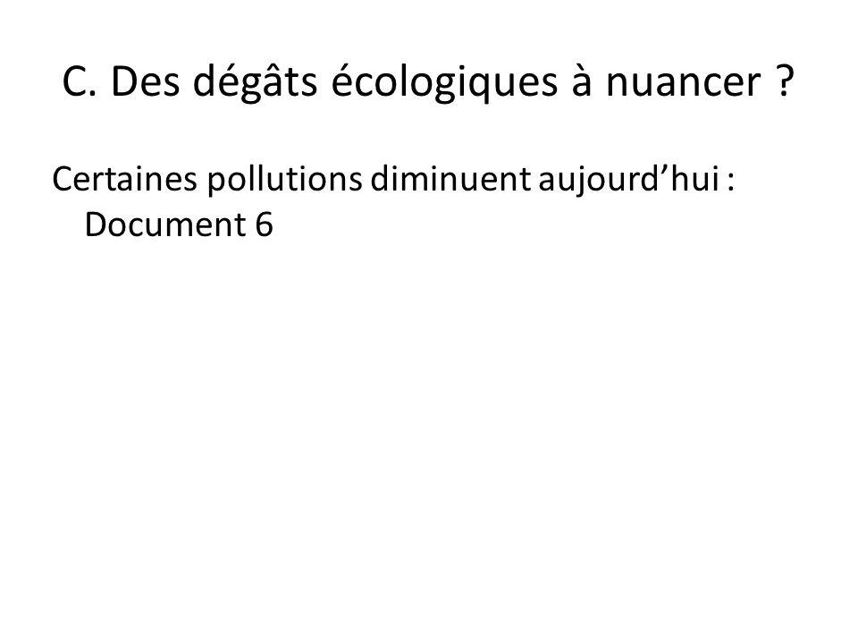 C. Des dégâts écologiques à nuancer ? Certaines pollutions diminuent aujourdhui : Document 6
