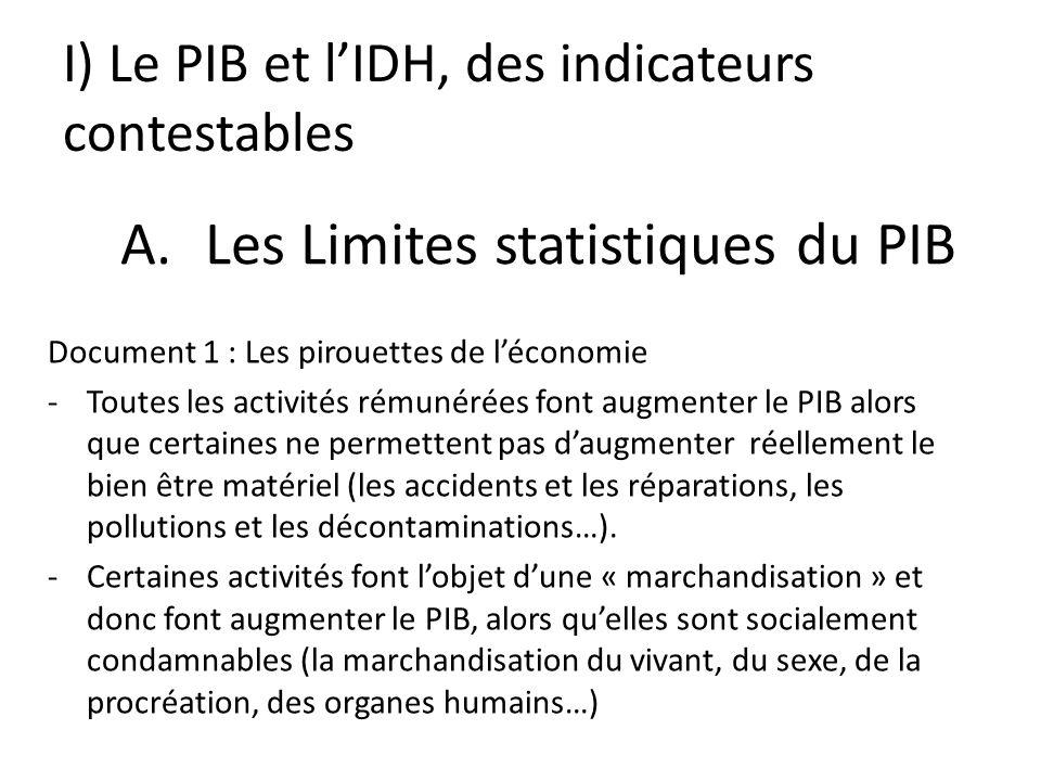 I) Le PIB et lIDH, des indicateurs contestables Document 1 : Les pirouettes de léconomie -Toutes les activités rémunérées font augmenter le PIB alors