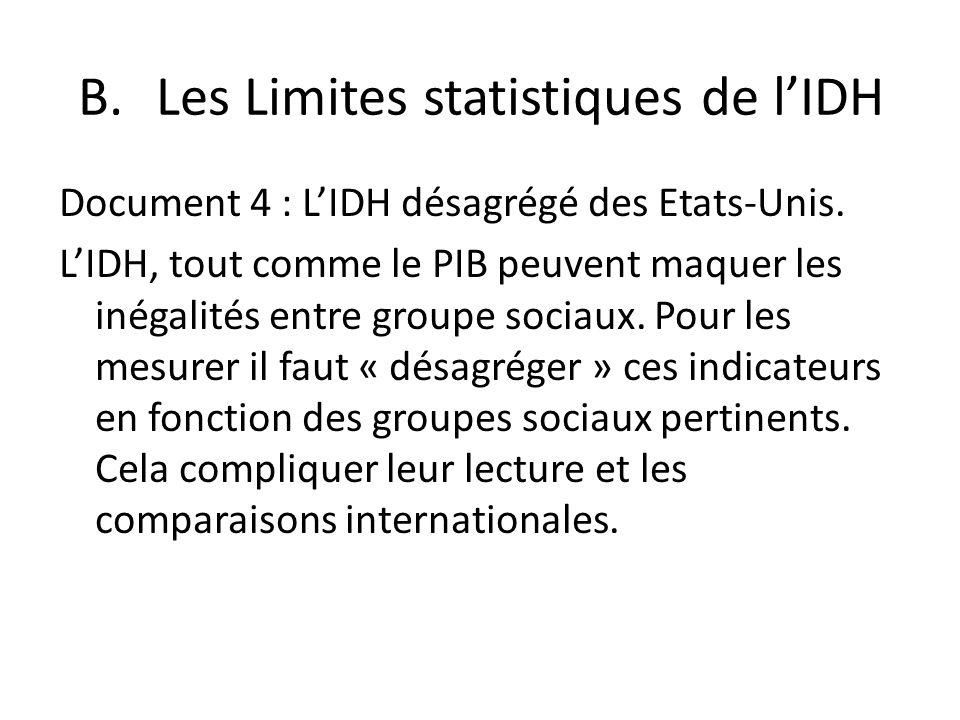 Document 4 : LIDH désagrégé des Etats-Unis. LIDH, tout comme le PIB peuvent maquer les inégalités entre groupe sociaux. Pour les mesurer il faut « dés