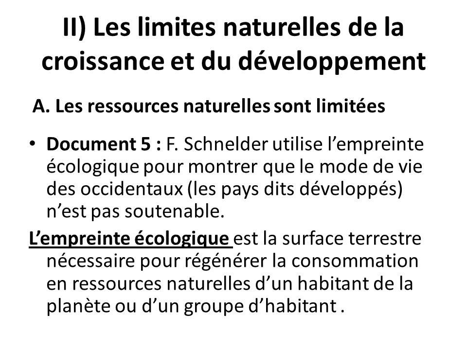 II) Les limites naturelles de la croissance et du développement Document 5 : F. Schnelder utilise lempreinte écologique pour montrer que le mode de vi