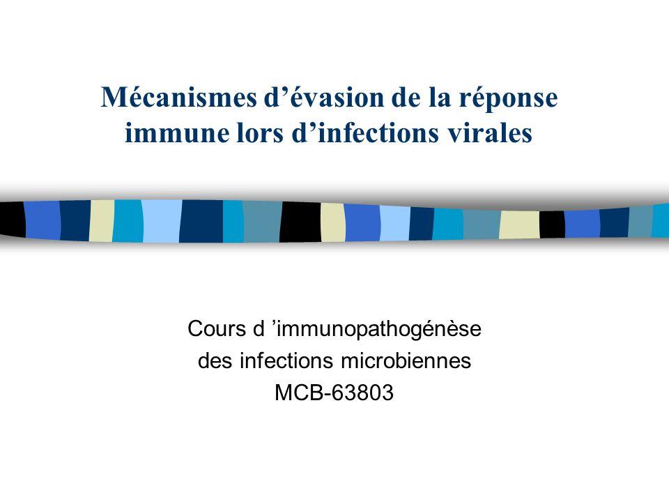 Mécanismes dévasion de la réponse immune lors dinfections virales Cours d immunopathogénèse des infections microbiennes MCB-63803