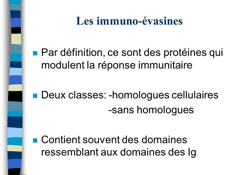 Les immuno-évasines n Par définition, ce sont des protéines qui modulent la réponse immunitaire n Deux classes: -homologues cellulaires -sans homologu