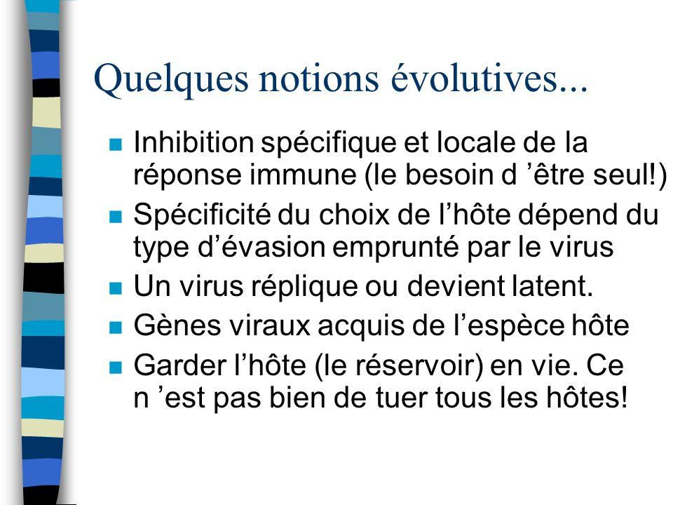 Quelques notions évolutives... n Inhibition spécifique et locale de la réponse immune (le besoin d être seul!) n Spécificité du choix de lhôte dépend