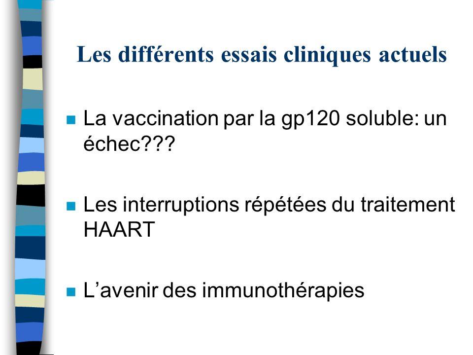 Les différents essais cliniques actuels n La vaccination par la gp120 soluble: un échec??? n Les interruptions répétées du traitement HAART n Lavenir