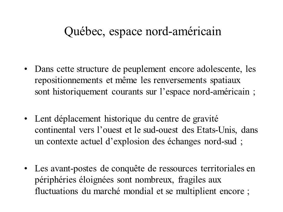 Québec, espace nord-américain Dans cette structure de peuplement encore adolescente, les repositionnements et même les renversements spatiaux sont his