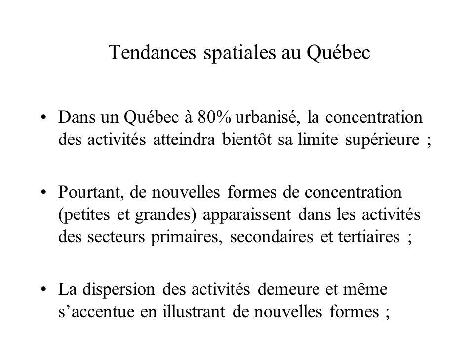 Tendances spatiales au Québec Dans un Québec à 80% urbanisé, la concentration des activités atteindra bientôt sa limite supérieure ; Pourtant, de nouv