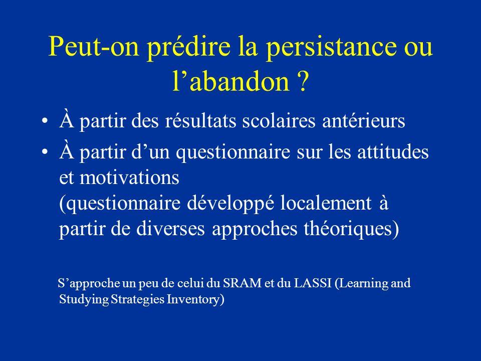 Peut-on prédire la persistance ou labandon ? À partir des résultats scolaires antérieurs À partir dun questionnaire sur les attitudes et motivations (