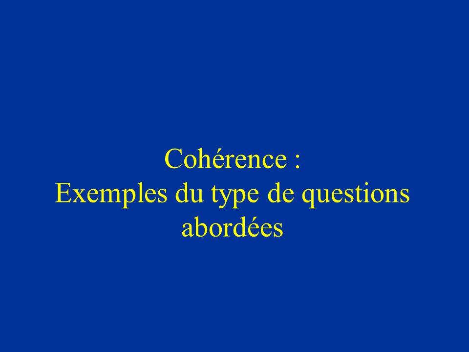 Cohérence : Exemples du type de questions abordées