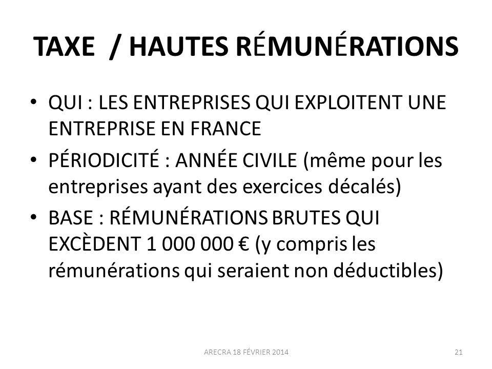 TAXE / HAUTES RÉMUNÉRATIONS QUI : LES ENTREPRISES QUI EXPLOITENT UNE ENTREPRISE EN FRANCE PÉRIODICITÉ : ANNÉE CIVILE (même pour les entreprises ayant