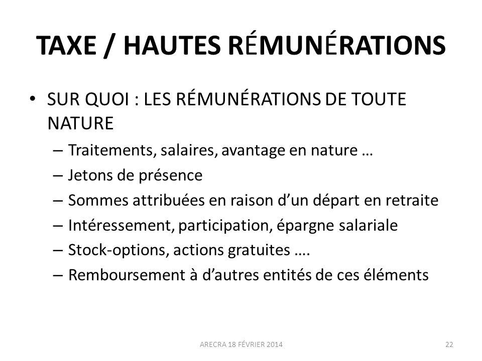 TAXE / HAUTES RÉMUNÉRATIONS SUR QUOI : LES RÉMUNÉRATIONS DE TOUTE NATURE – Traitements, salaires, avantage en nature … – Jetons de présence – Sommes a