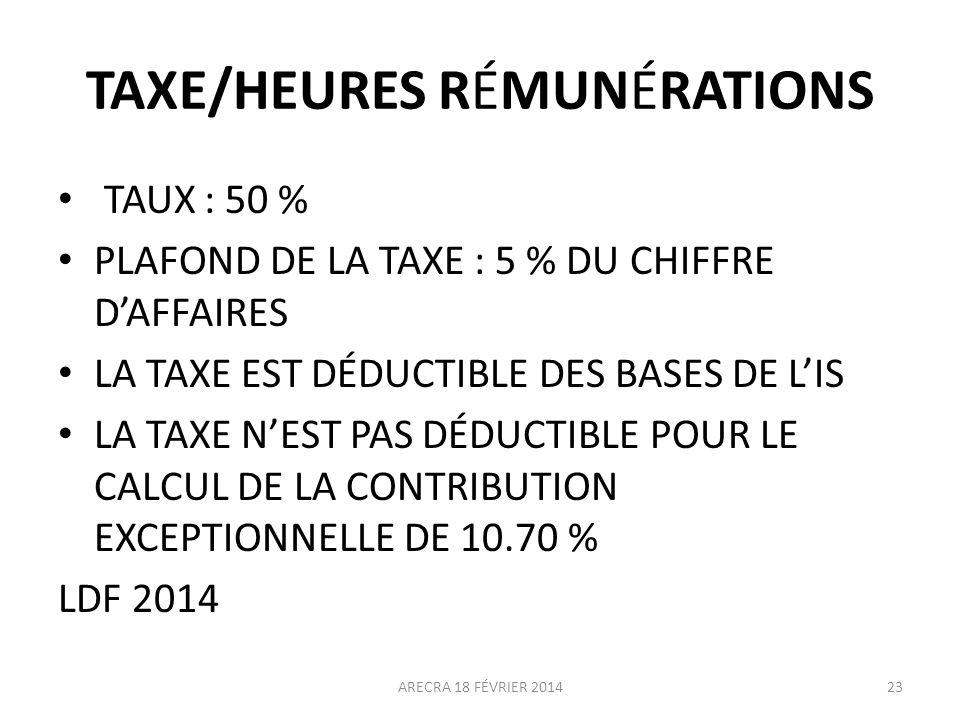 TAXE/HEURES RÉMUNÉRATIONS TAUX : 50 % PLAFOND DE LA TAXE : 5 % DU CHIFFRE DAFFAIRES LA TAXE EST DÉDUCTIBLE DES BASES DE LIS LA TAXE NEST PAS DÉDUCTIBL