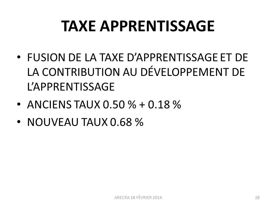 TAXE APPRENTISSAGE FUSION DE LA TAXE DAPPRENTISSAGE ET DE LA CONTRIBUTION AU DÉVELOPPEMENT DE LAPPRENTISSAGE ANCIENS TAUX 0.50 % + 0.18 % NOUVEAU TAUX