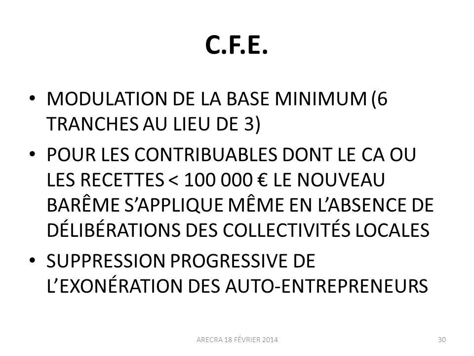 C.F.E. MODULATION DE LA BASE MINIMUM (6 TRANCHES AU LIEU DE 3) POUR LES CONTRIBUABLES DONT LE CA OU LES RECETTES < 100 000 LE NOUVEAU BARÊME SAPPLIQUE