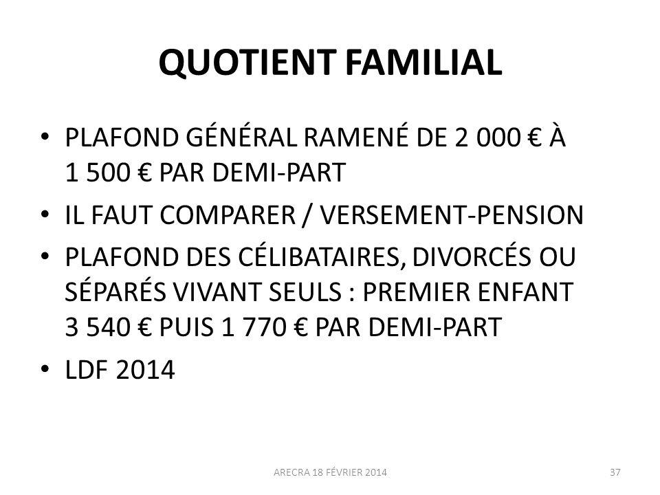 QUOTIENT FAMILIAL PLAFOND GÉNÉRAL RAMENÉ DE 2 000 À 1 500 PAR DEMI-PART IL FAUT COMPARER / VERSEMENT-PENSION PLAFOND DES CÉLIBATAIRES, DIVORCÉS OU SÉP