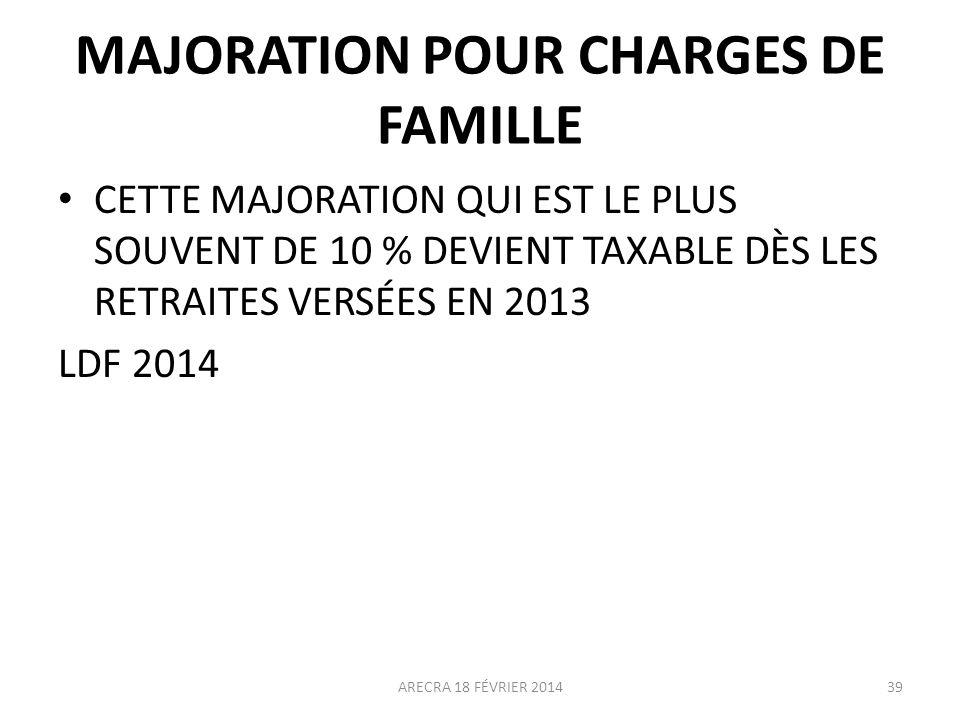 MAJORATION POUR CHARGES DE FAMILLE CETTE MAJORATION QUI EST LE PLUS SOUVENT DE 10 % DEVIENT TAXABLE DÈS LES RETRAITES VERSÉES EN 2013 LDF 2014 ARECRA