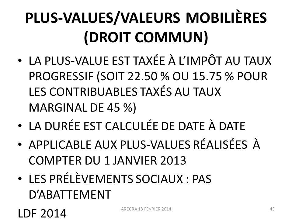 PLUS-VALUES/VALEURS MOBILIÈRES (DROIT COMMUN) LA PLUS-VALUE EST TAXÉE À LIMPÔT AU TAUX PROGRESSIF (SOIT 22.50 % OU 15.75 % POUR LES CONTRIBUABLES TAXÉ