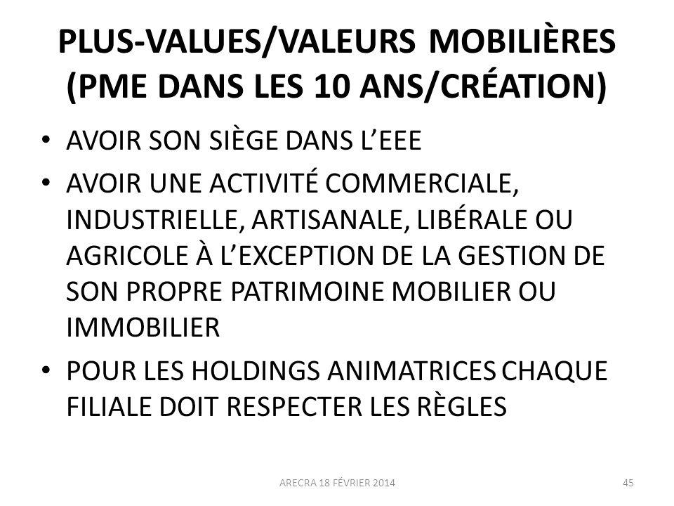 PLUS-VALUES/VALEURS MOBILIÈRES (PME DANS LES 10 ANS/CRÉATION) AVOIR SON SIÈGE DANS LEEE AVOIR UNE ACTIVITÉ COMMERCIALE, INDUSTRIELLE, ARTISANALE, LIBÉ