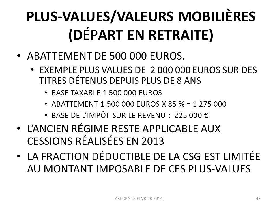 PLUS-VALUES/VALEURS MOBILIÈRES (DÉPART EN RETRAITE) ABATTEMENT DE 500 000 EUROS. EXEMPLE PLUS VALUES DE 2 000 000 EUROS SUR DES TITRES DÉTENUS DEPUIS