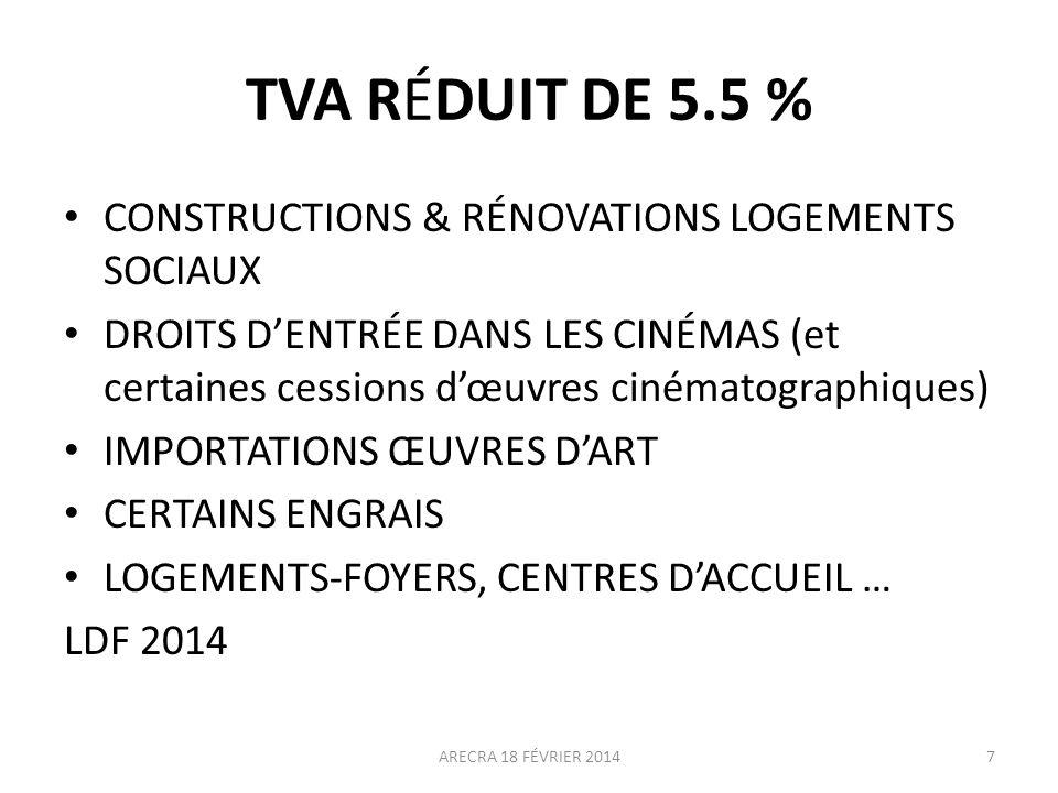 TVA RÉDUIT DE 5.5 % CONSTRUCTIONS & RÉNOVATIONS LOGEMENTS SOCIAUX DROITS DENTRÉE DANS LES CINÉMAS (et certaines cessions dœuvres cinématographiques) I