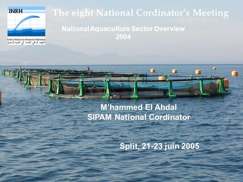 The eight National Cordinators Meeting National Aquaculture Sector Overview 2004 Mhammed El Ahdal SIPAM National Cordinator Split, 21-23 juin 2005