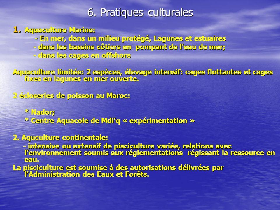 6. Pratiques culturales 1. Aquaculture Marine: - En mer, dans un milieu protégé, Lagunes et estuaires - En mer, dans un milieu protégé, Lagunes et est