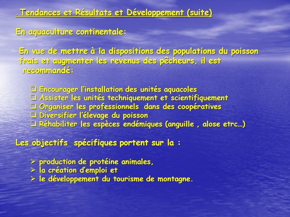 . Tendances et Résultats et Développement (suite) En aquaculture continentale: En vue de mettre à la dispositions des populations du poisson En vue de