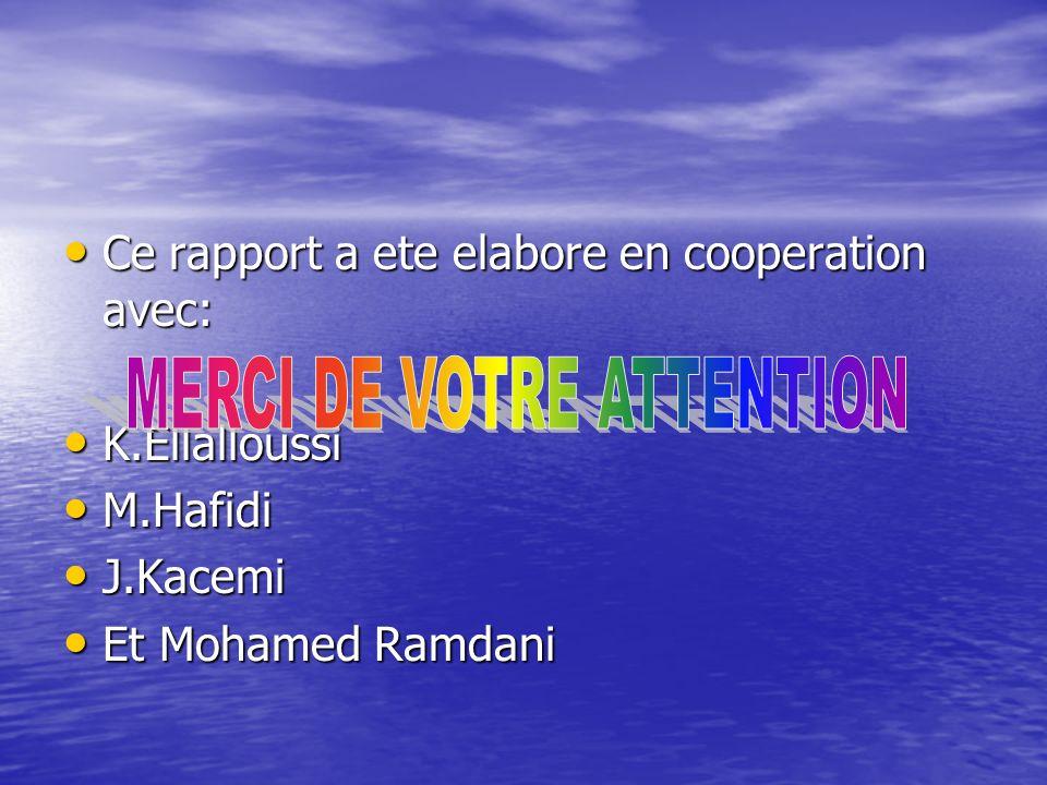 Ce rapport a ete elabore en cooperation avec: Ce rapport a ete elabore en cooperation avec: K.Ellalloussi K.Ellalloussi M.Hafidi M.Hafidi J.Kacemi J.K