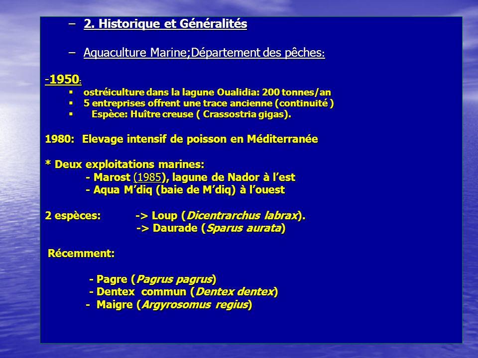–2. Historique et Généralités –Aquaculture Marine;Département des pêches : -1950 : ostréiculture dans la lagune Oualidia: 200 tonnes/an ostréiculture