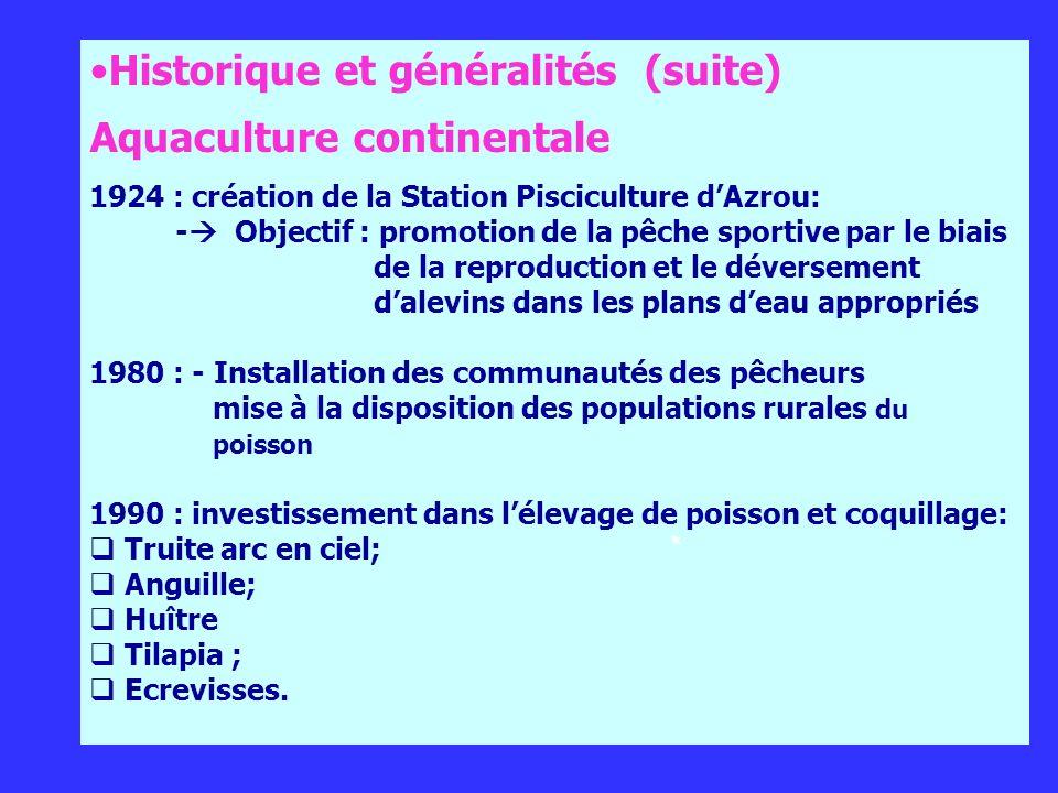 Historique et généralités (suite) Aquaculture continentale 1924 : création de la Station Pisciculture dAzrou: - Objectif : promotion de la pêche sport