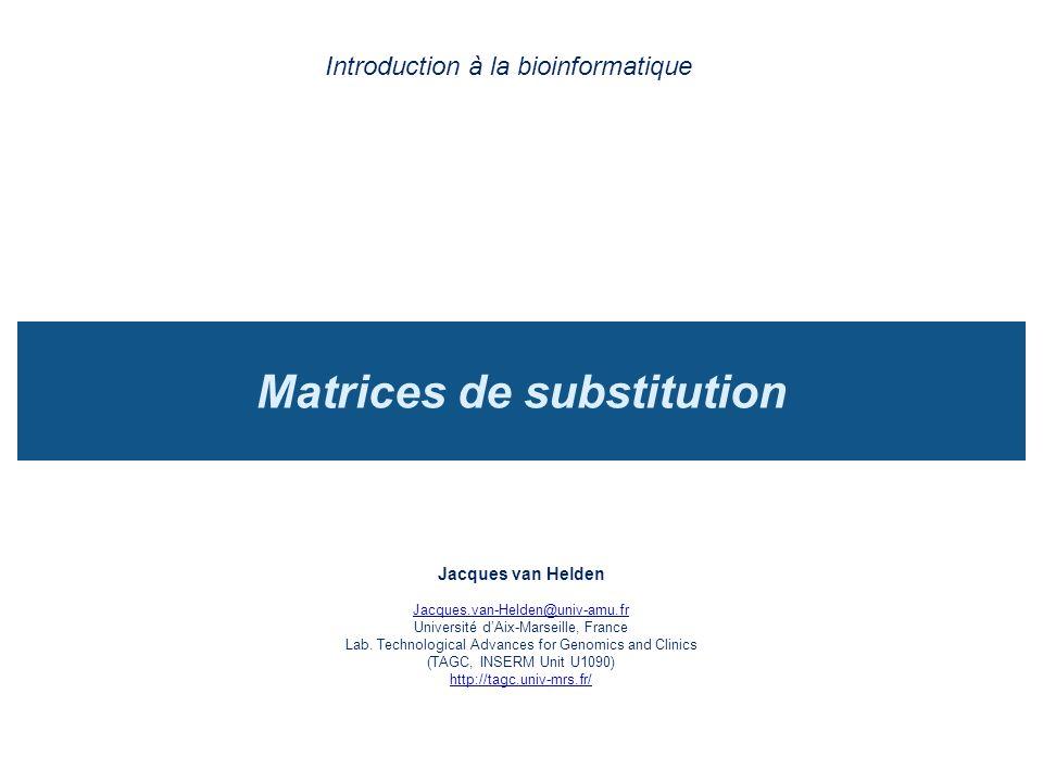 Matrices de substitutions Une matrice de substitution associe un score à chaque paire de résidus qu on peut trouver dans un alignement.