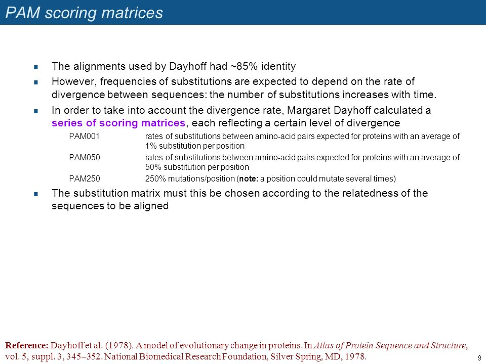 PAM scoring matrices The alignments used by Dayhoff had ~85% identity However, frequencies of substitutions are expected to depend on the rate of dive