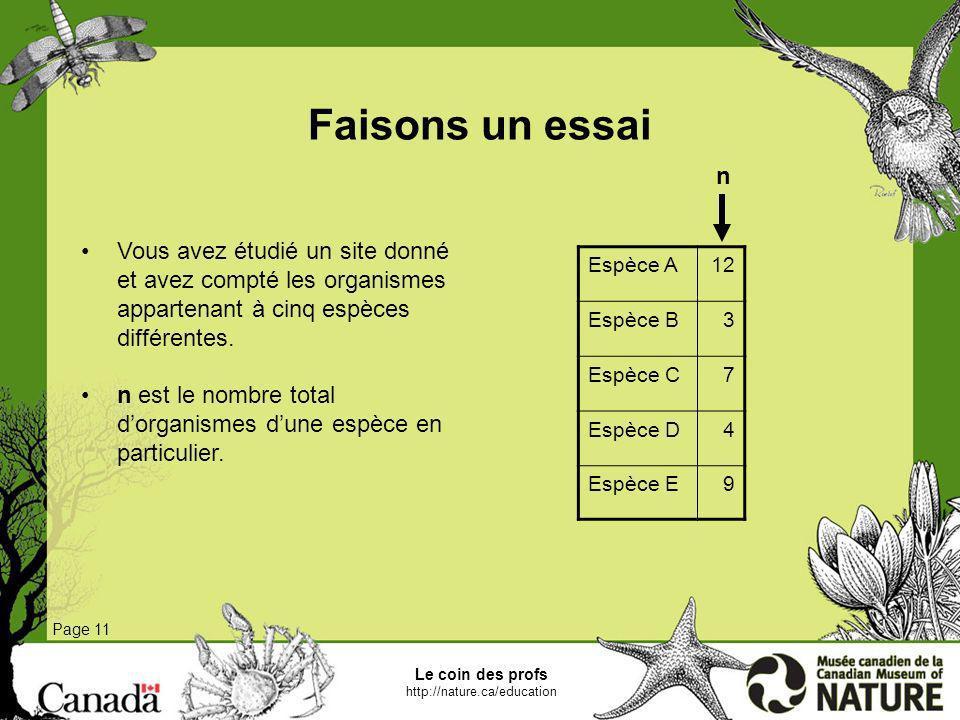 Faisons un essai Page 11 Vous avez étudié un site donné et avez compté les organismes appartenant à cinq espèces différentes. n est le nombre total do