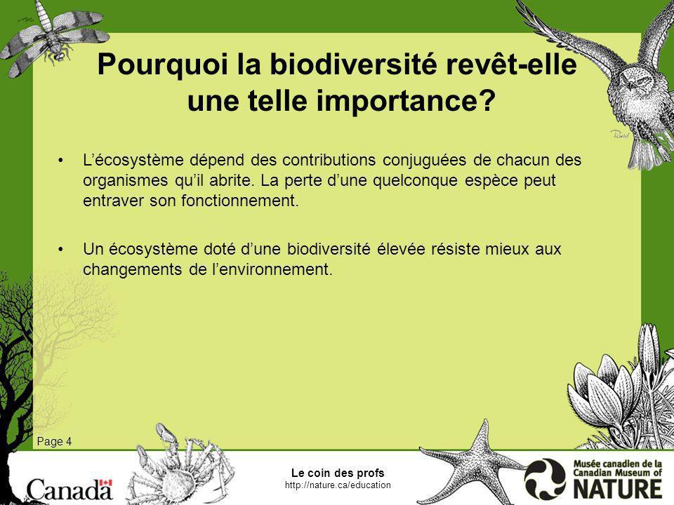 Le coin des profs http://nature.ca/education Page 4 Pourquoi la biodiversité revêt-elle une telle importance? Lécosystème dépend des contributions con