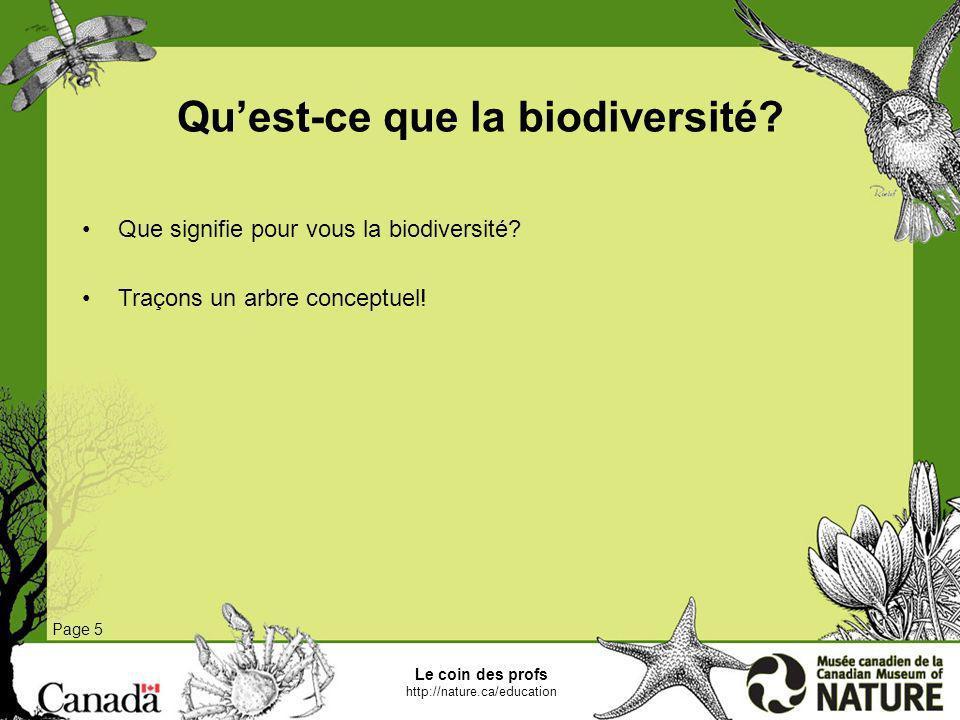 Le coin des profs http://nature.ca/education Quest-ce que la biodiversité? Page 5 Que signifie pour vous la biodiversité? Traçons un arbre conceptuel!