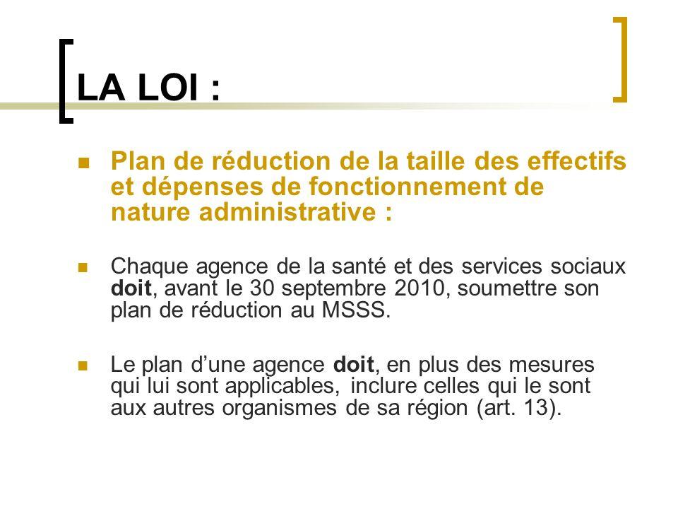LA LOI : Plan de réduction de la taille des effectifs et dépenses de fonctionnement de nature administrative : Chaque agence de la santé et des servic
