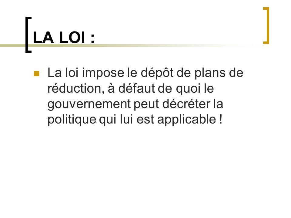 LA LOI : La loi impose le dépôt de plans de réduction, à défaut de quoi le gouvernement peut décréter la politique qui lui est applicable !