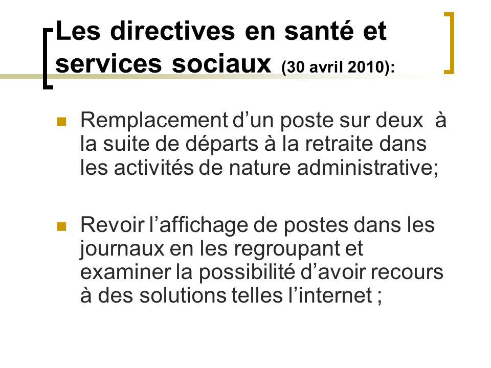 Les directives en santé et services sociaux (30 avril 2010): Remplacement dun poste sur deux à la suite de départs à la retraite dans les activités de