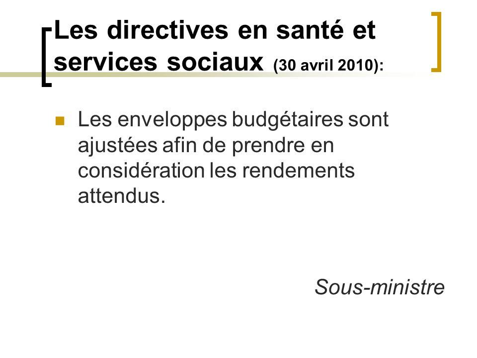 Les directives en santé et services sociaux (30 avril 2010): Les enveloppes budgétaires sont ajustées afin de prendre en considération les rendements