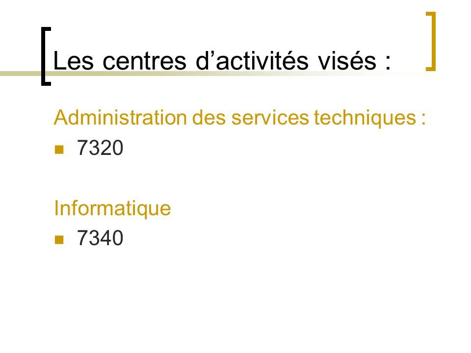 Les centres dactivités visés : Administration des services techniques : 7320 Informatique 7340