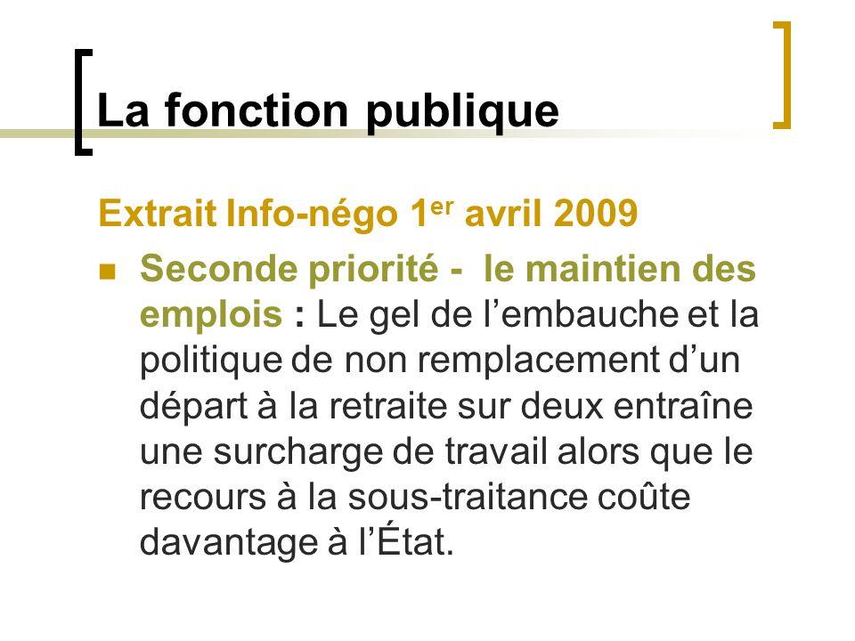 La fonction publique Extrait Info-négo 1 er avril 2009 Seconde priorité - le maintien des emplois : Le gel de lembauche et la politique de non remplac