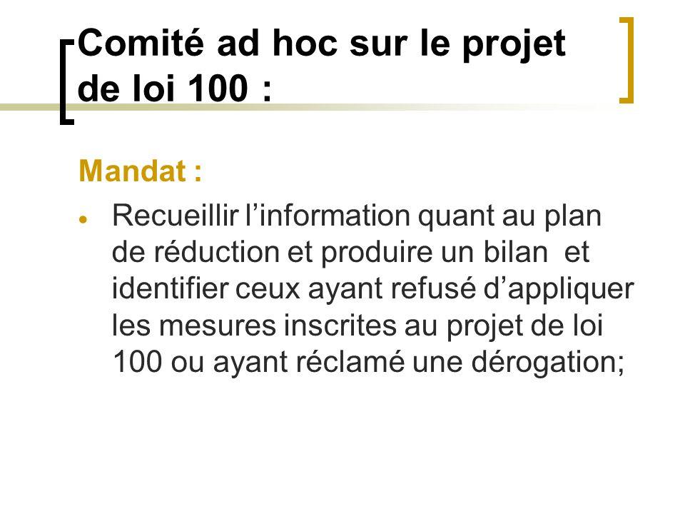 Comité ad hoc sur le projet de loi 100 : Mandat : Recueillir linformation quant au plan de réduction et produire un bilan et identifier ceux ayant ref