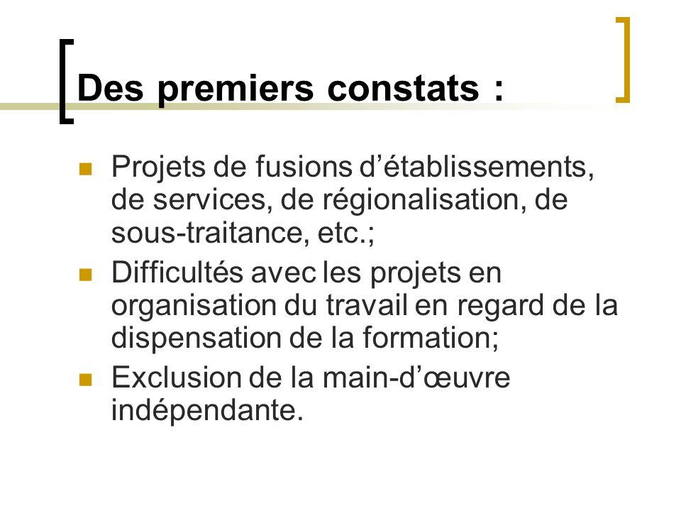Des premiers constats : Projets de fusions détablissements, de services, de régionalisation, de sous-traitance, etc.; Difficultés avec les projets en