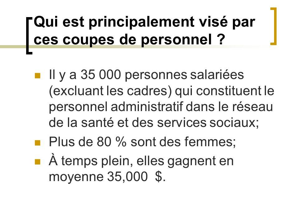 Qui est principalement visé par ces coupes de personnel ? Il y a 35 000 personnes salariées (excluant les cadres) qui constituent le personnel adminis