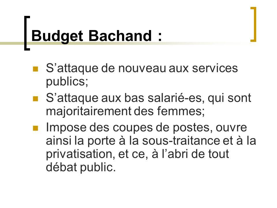 Budget Bachand : Sattaque de nouveau aux services publics; Sattaque aux bas salarié-es, qui sont majoritairement des femmes; Impose des coupes de post