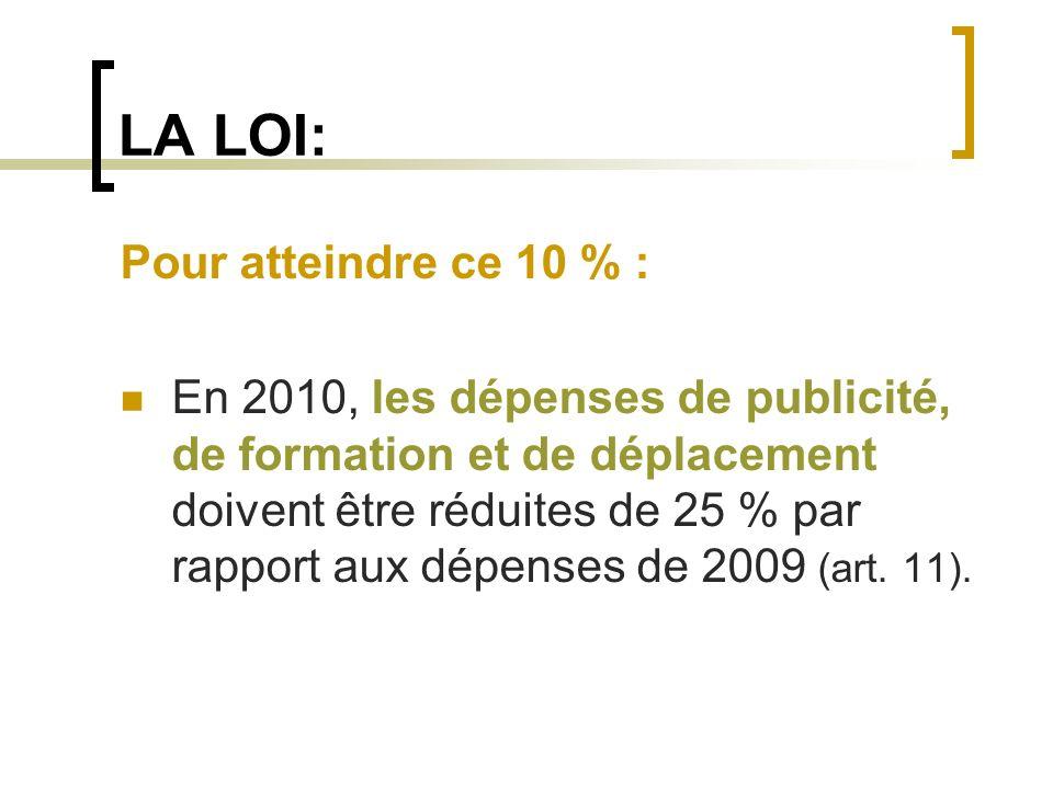 LA LOI: Pour atteindre ce 10 % : En 2010, les dépenses de publicité, de formation et de déplacement doivent être réduites de 25 % par rapport aux dépe