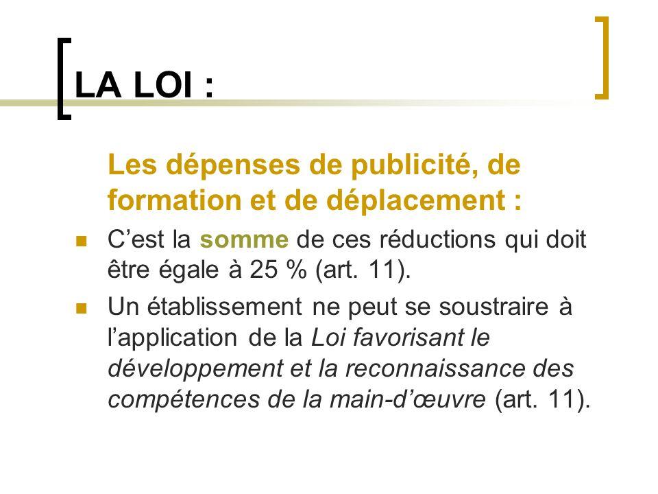 LA LOI : Les dépenses de publicité, de formation et de déplacement : Cest la somme de ces réductions qui doit être égale à 25 % (art. 11). Un établiss