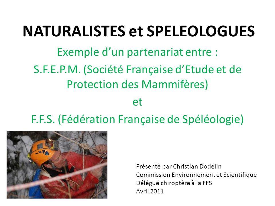 NATURALISTES et SPELEOLOGUES Exemple dun partenariat entre : S.F.E.P.M. (Société Française dEtude et de Protection des Mammifères) et F.F.S. (Fédérati