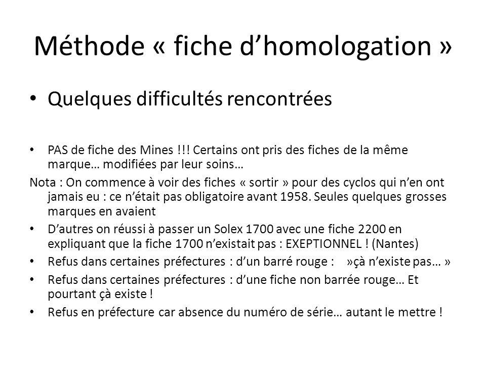 Méthode « fiche dhomologation » Quelques difficultés rencontrées PAS de fiche des Mines !!! Certains ont pris des fiches de la même marque… modifiées