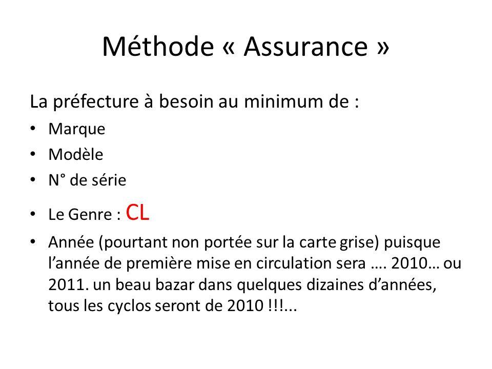 Méthode « Assurance » La préfecture à besoin au minimum de : Marque Modèle N° de série Le Genre : CL Année (pourtant non portée sur la carte grise) pu