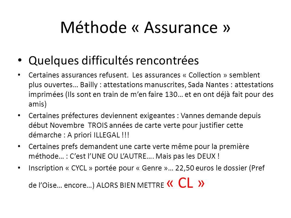 Méthode « Assurance » Quelques difficultés rencontrées Certaines assurances refusent. Les assurances « Collection » semblent plus ouvertes… Bailly : a